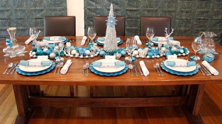 azul y plata ideas decoracion elegante navidad sillas