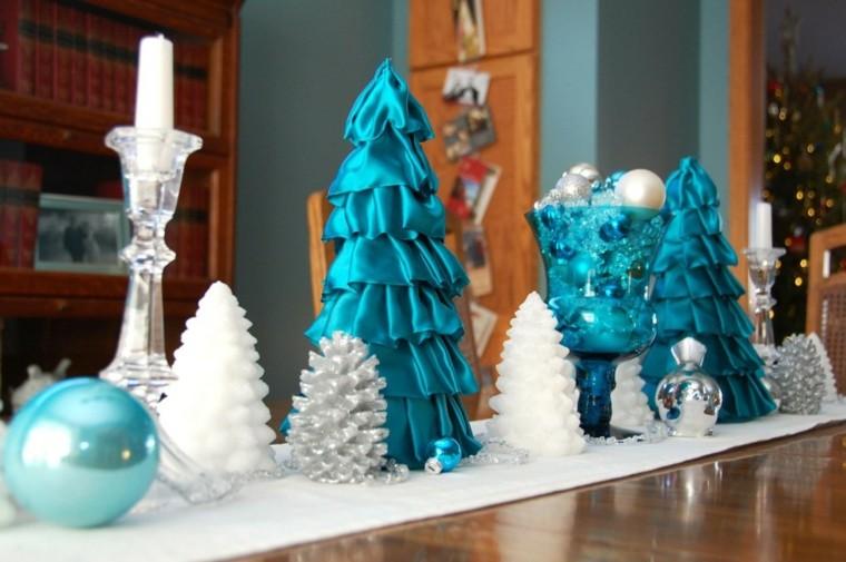 azul y plata ideas decoracion navidad blanco