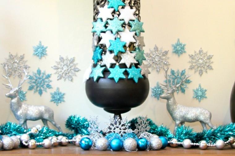 azul y plata ideas decoracion renos estrellas
