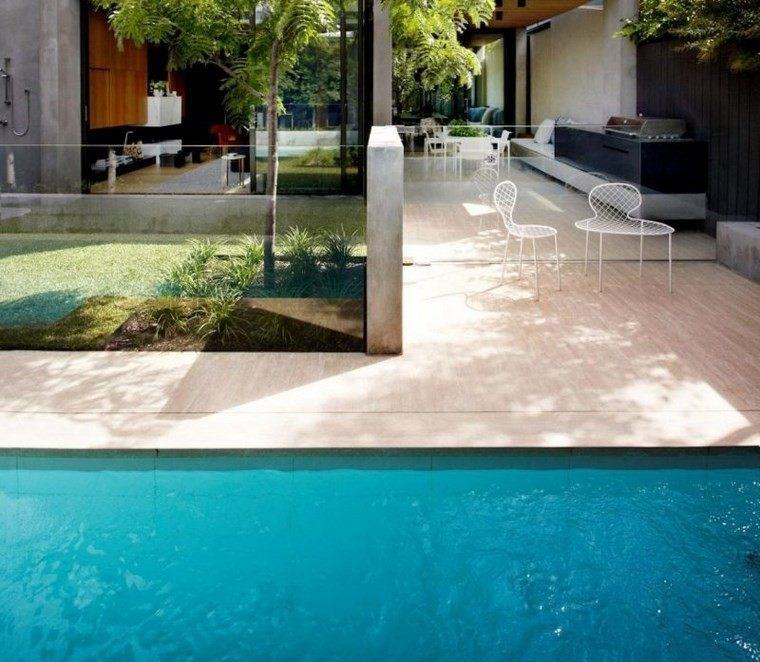 azulejo travertino suelo pared casa moderna cocina aire libre ideas