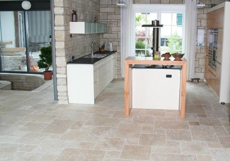 azulejo travertino suelo pared casa moderna cocina isla ideas