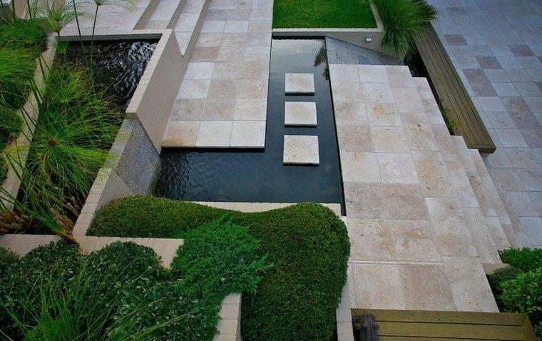 Azulejos travertino 75 ideas de para suelos y paredes - Pavimento jardin ...