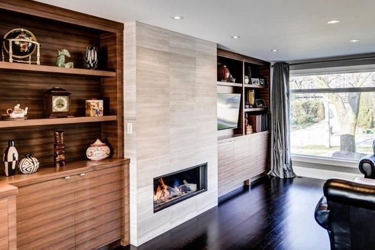 azulejos travertino suelo pared casa moderna chimenea estanterias ideas