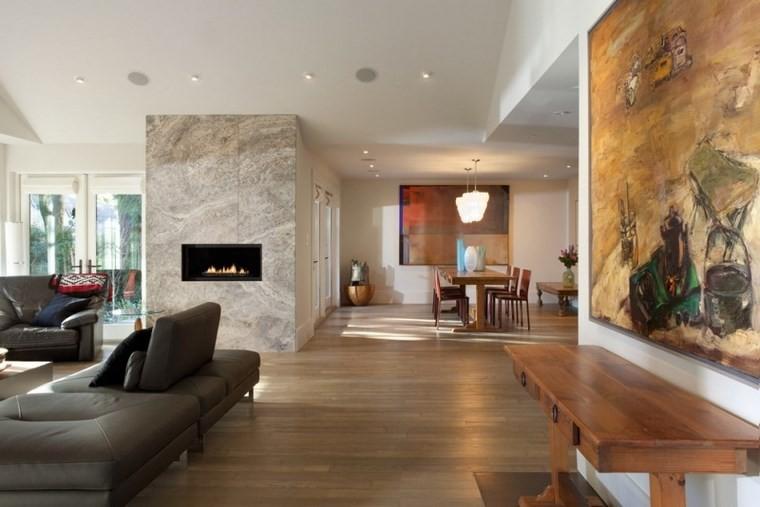 azulejos travertino suelo pared casa moderna chimenea sofa cuero ideas