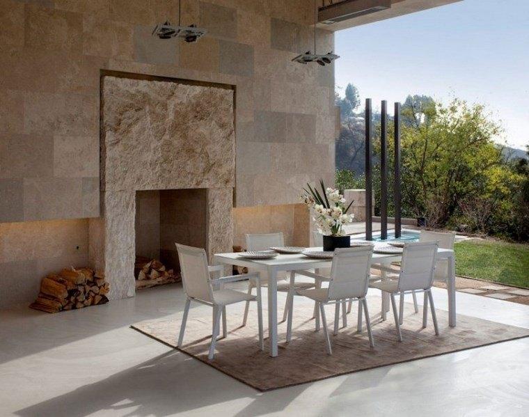 azulejo travertino suelo pared casa moderna comedor abierto ideas