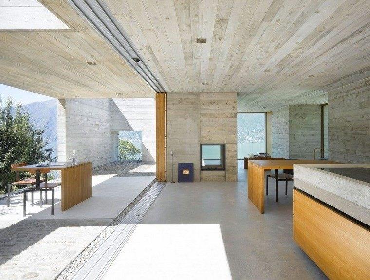 azulejos travertino suelo pared casa moderna muebles madera ideas
