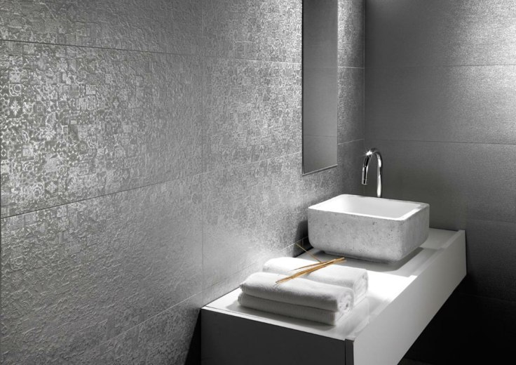 baño decoración paredes grises