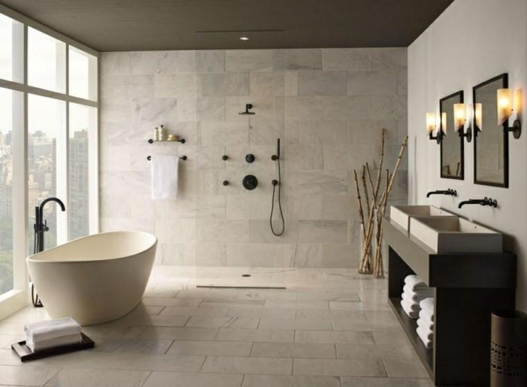 baño moderno grifos negros ducha