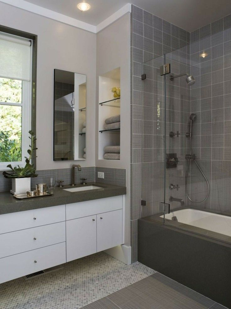 baños modernos paredes color gris