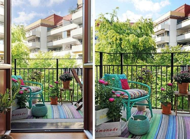 balcon diseño pequeño acogedor citadino colorido