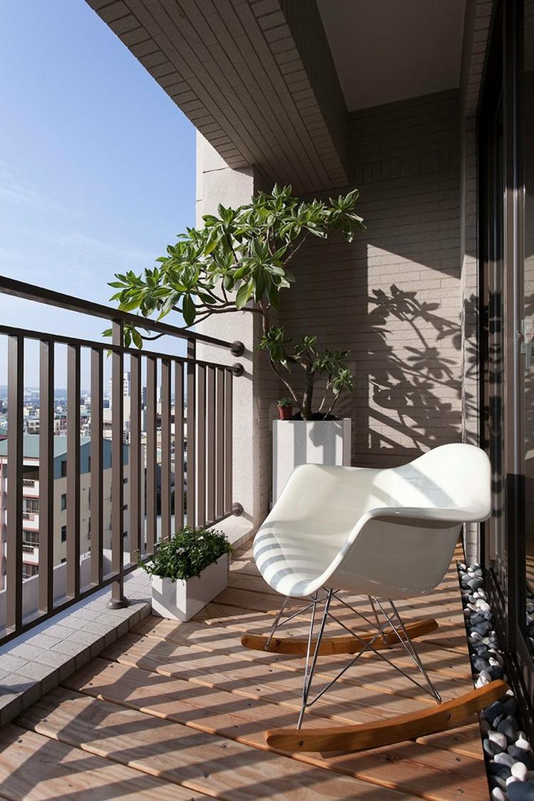 balcon diseño pequeño acogedor rocas balance