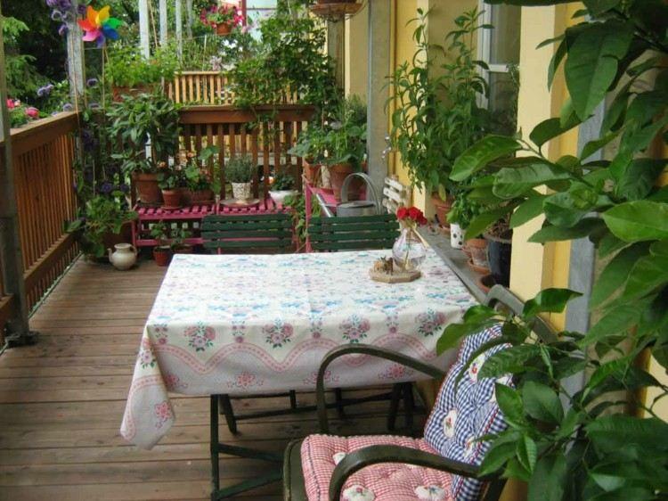 balcon diseño pequeño acogedor tropical manteles