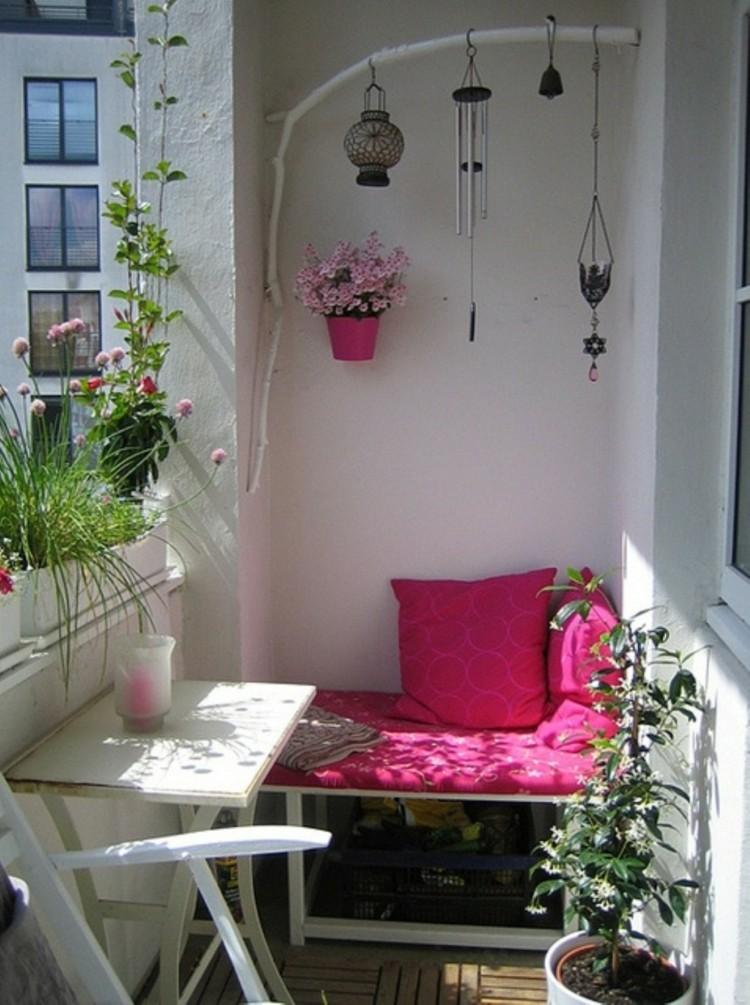 balcon diseño rosa cojines ideas detalles