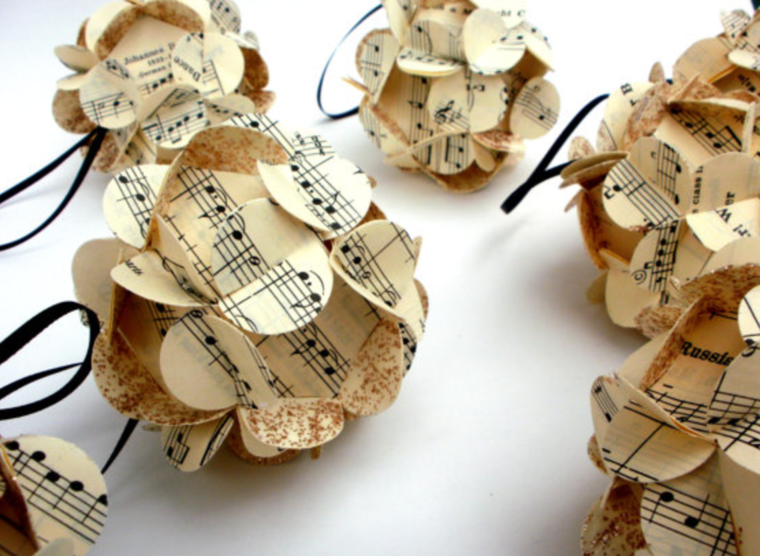 Partituras musicales para la decoraci n de navidad - Adornos navidenos de papel ...
