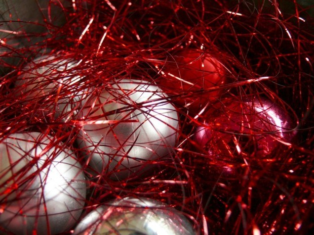 bolas navidad rojas plata brillo