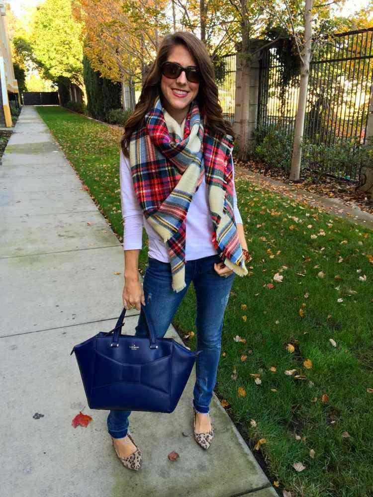 bolsa azul grande bufanda otono caliente ideas