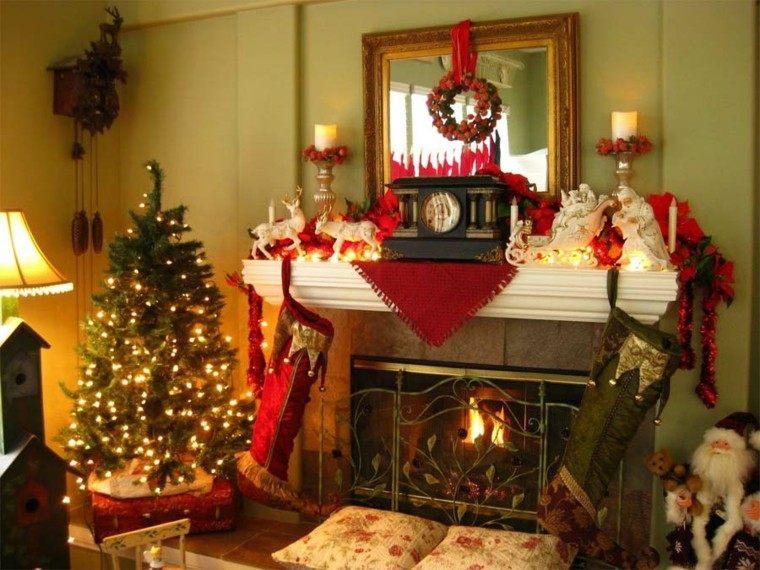 bonita decoración chimenea navidad