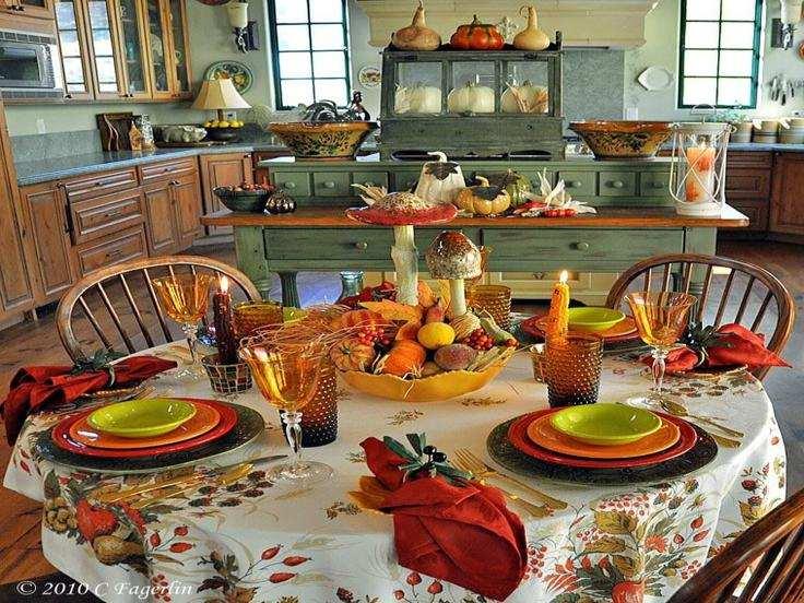 bonita decoracion mesa cocina otoño