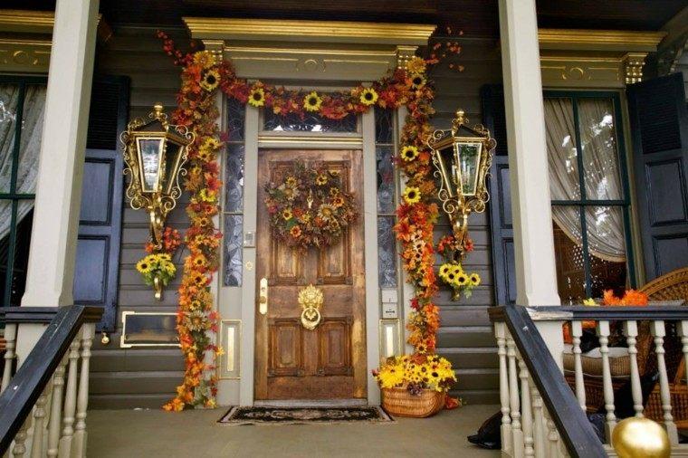 entradas decoradas con flores de otoo bonita decoracin flores otoo