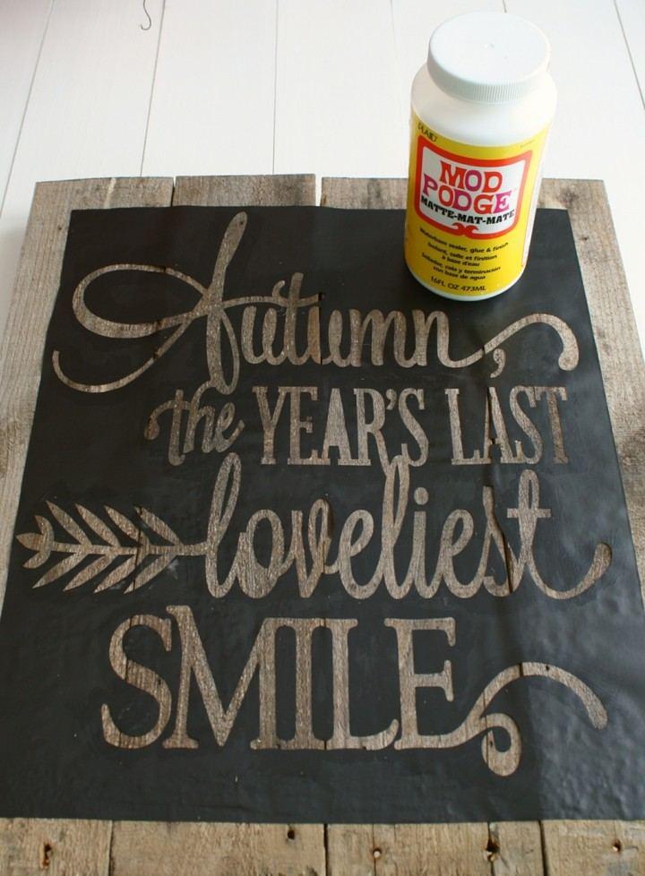 bonito cartel pizarra otoño madera