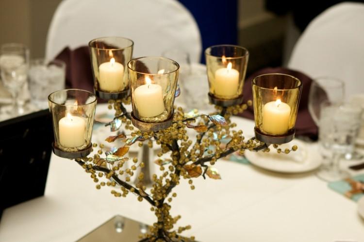 centro mesa velas blancas