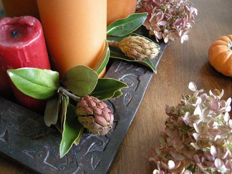 bonito centro mesa velas hojas