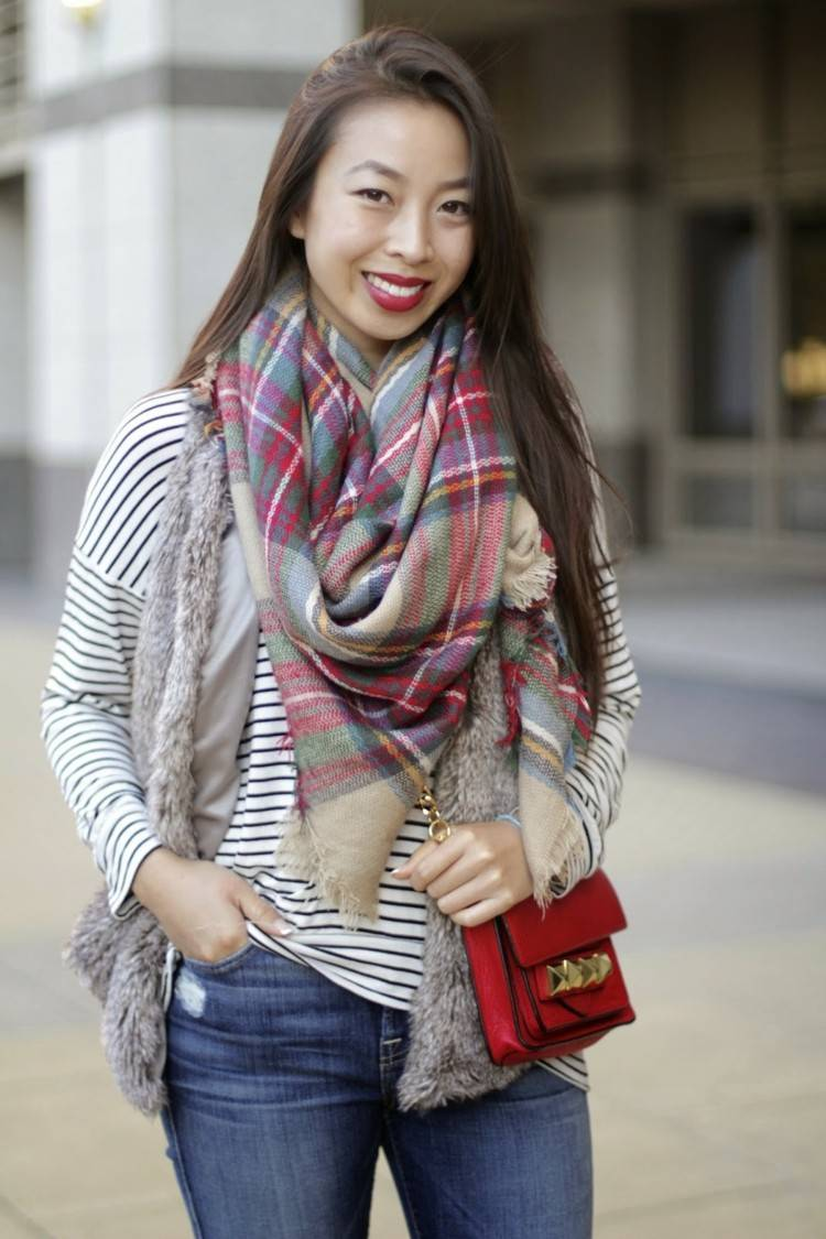 bufanda otono caliente blusa rayas blanco negro ideas