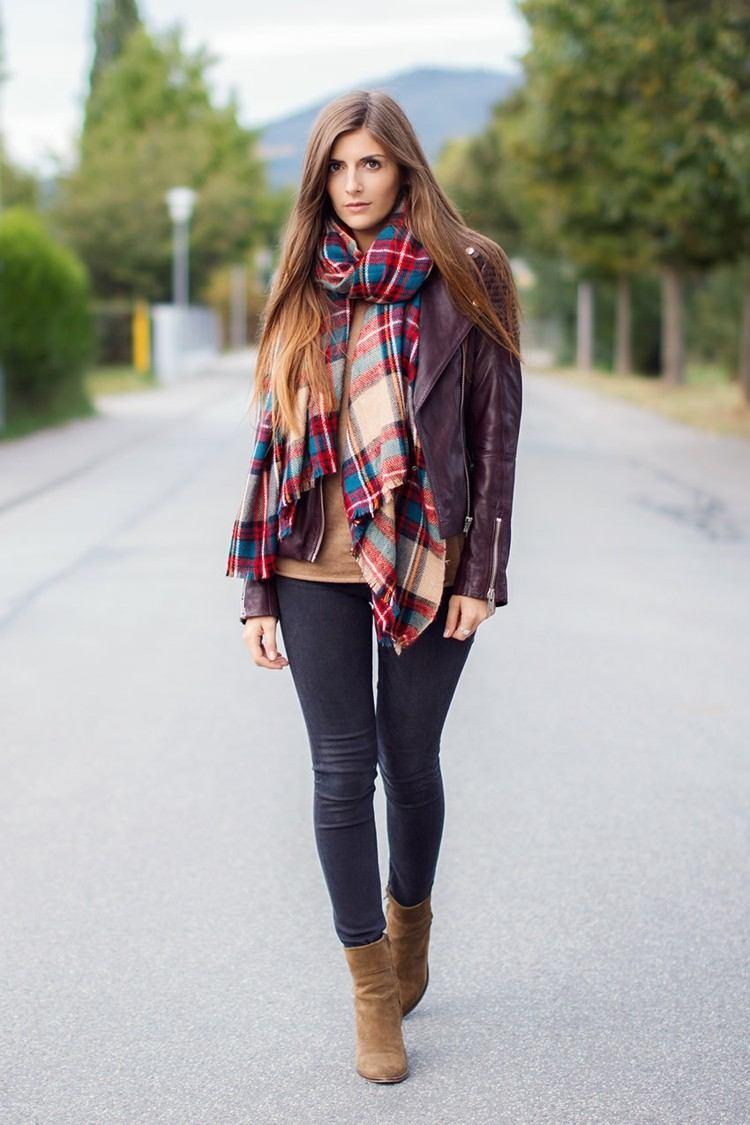 bufanda otono caliente chaqueta cuero botas ideas