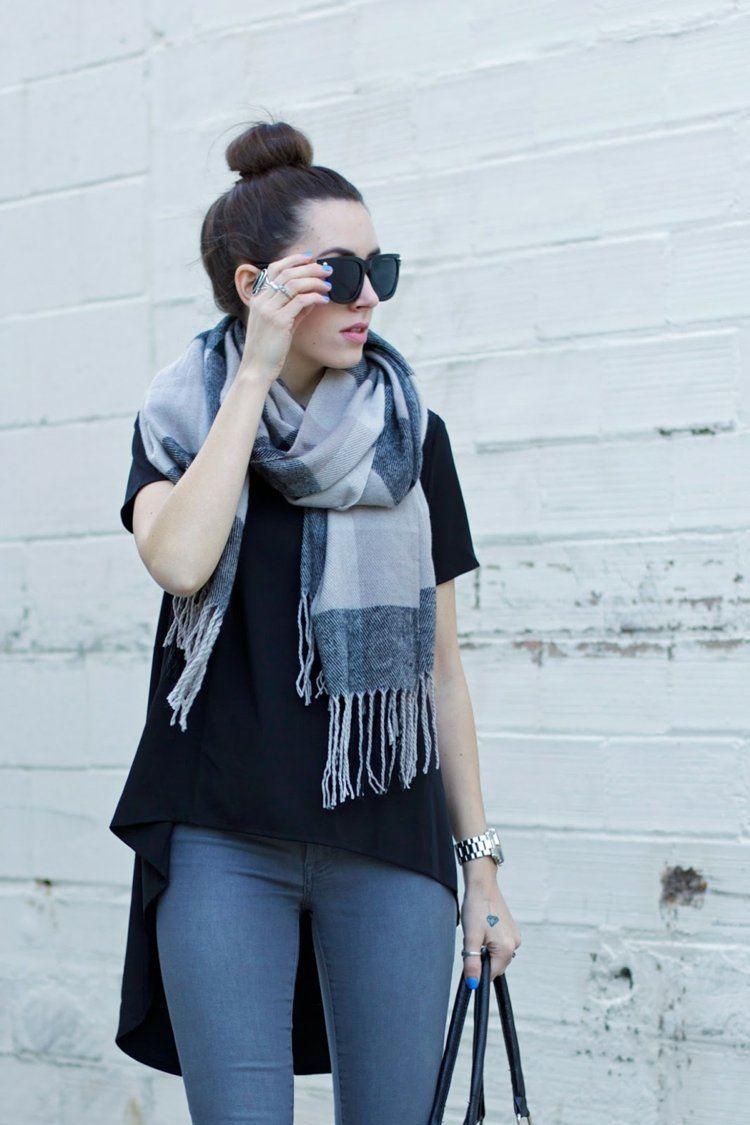 bufanda otono caliente colores gama gris ideas