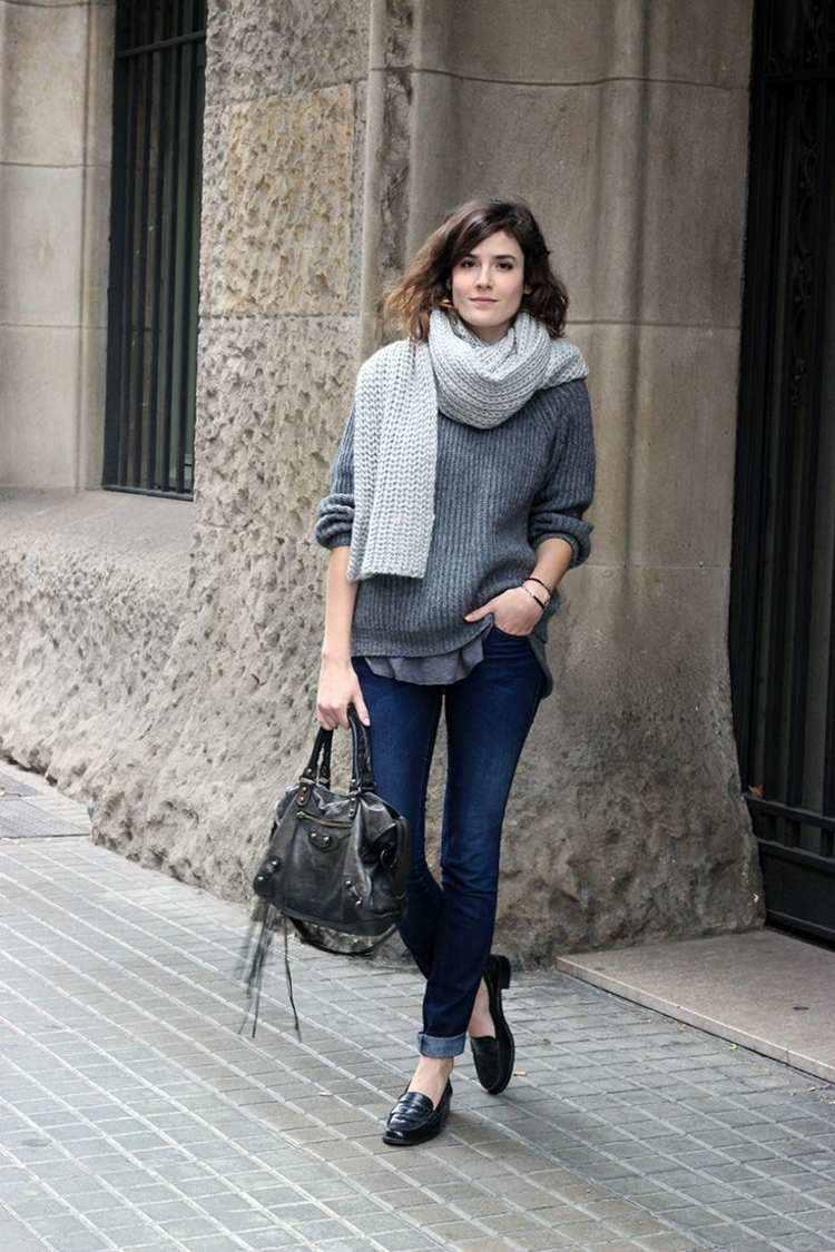 bufanda otono caliente gris claro sueter gris oscuro ideas