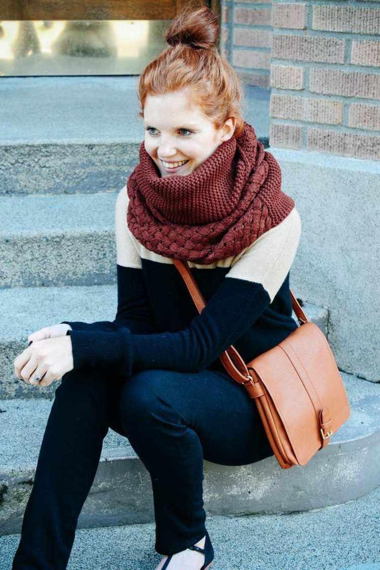 bufanda otono caliente lana color rojo oscuro ideas