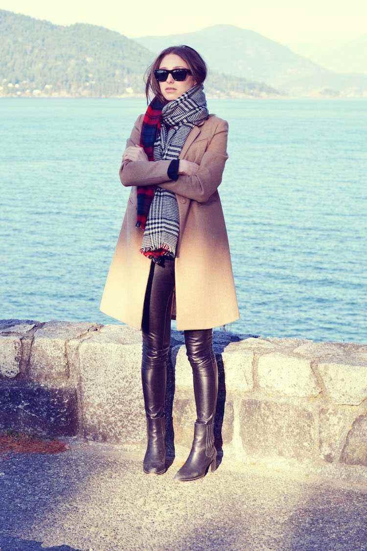 bufanda otono caliente pantalon cuero ideas