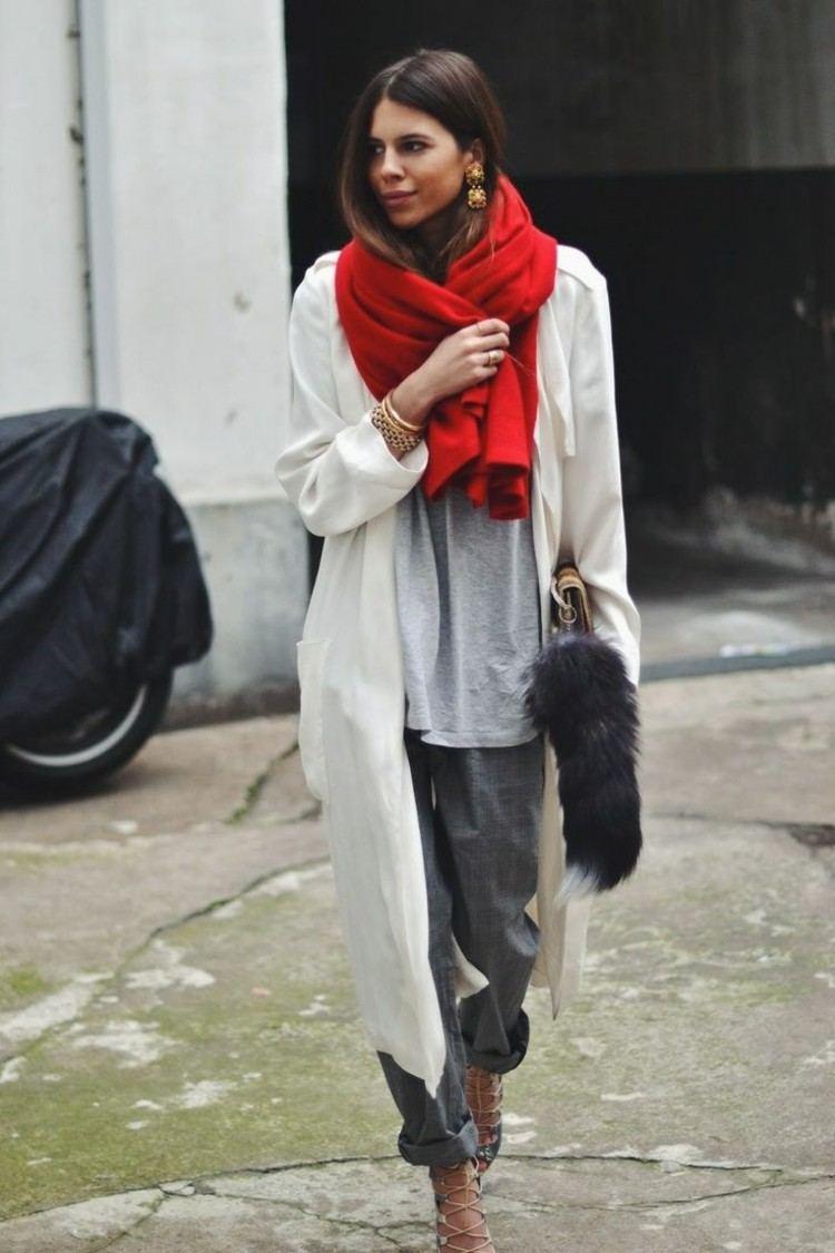 bufanda otono caliente roja lana blusa pantalon gris ideas