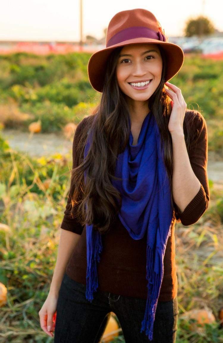 bufandas otono caliente azul precioso ideas