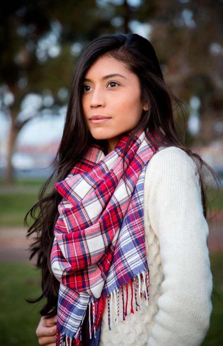 bufandas otono caliente moderna blanco rojo ideas