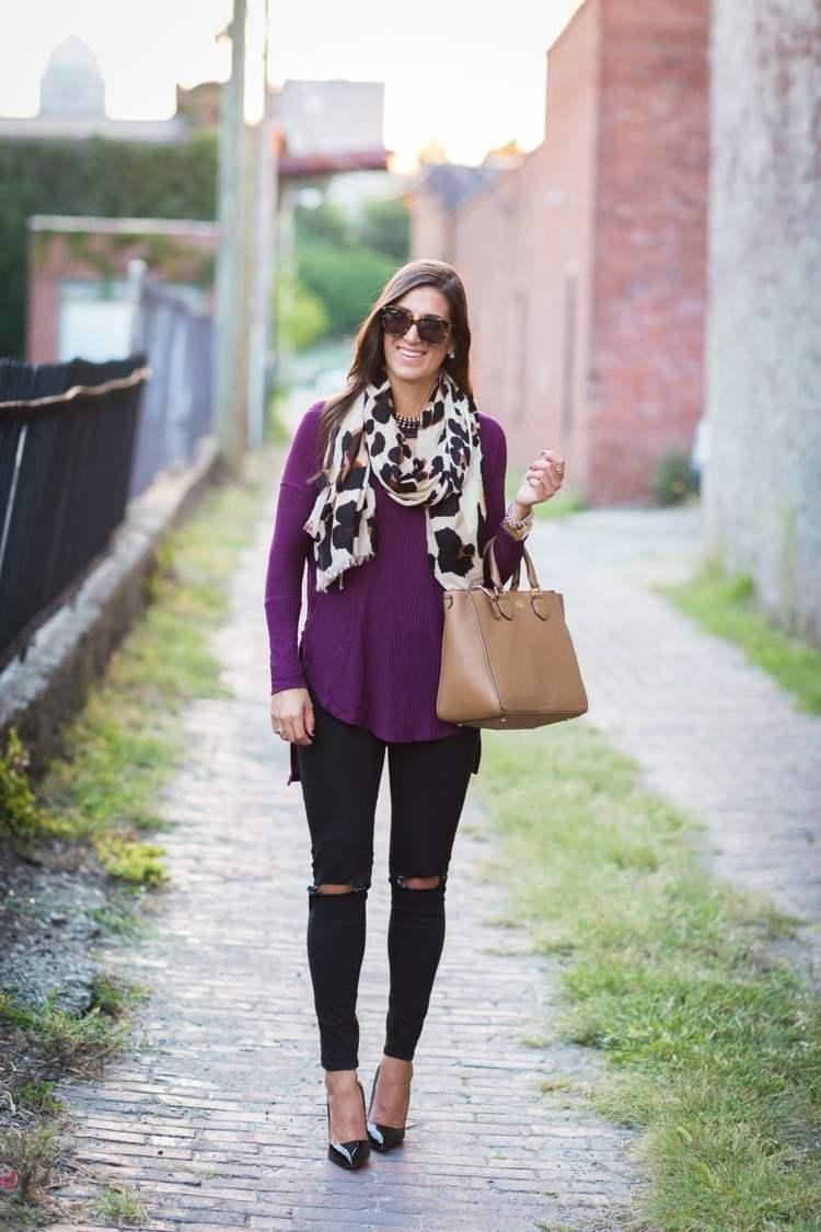 bufandas otono caliente pantalon negro blusa purpura ideas