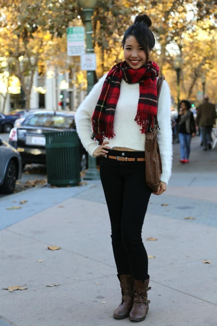bufandas otono caliente sueter blanco ideas
