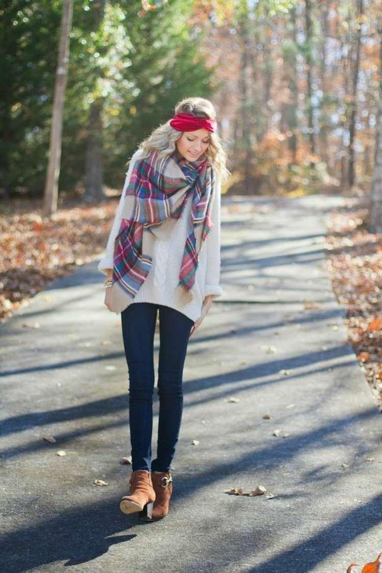 bufandas otono invierno caliente denim ideas