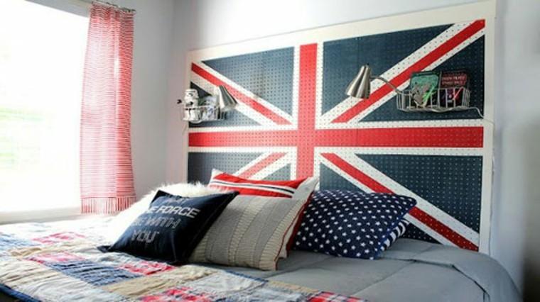 cabeceros de cama diseño azul bandera cojines