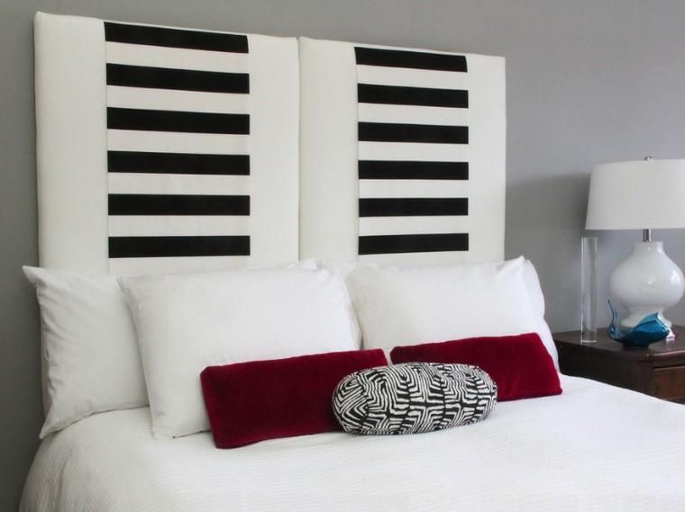 cabeceros de cama diseño blanco negro rojo