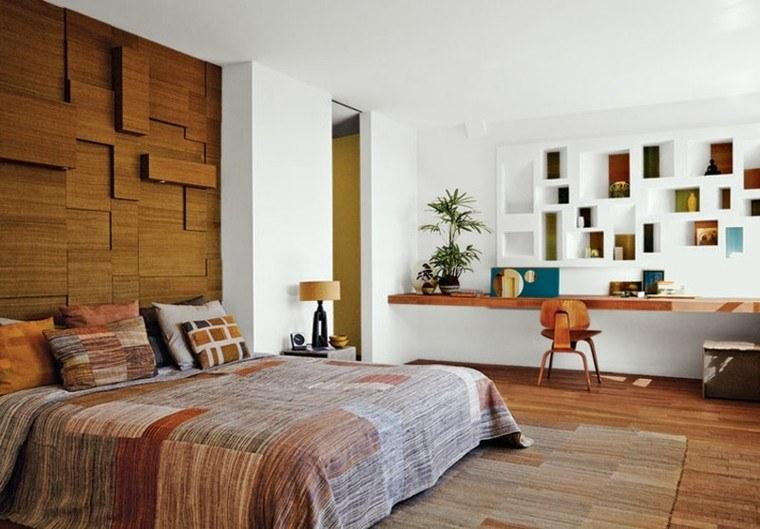 cabeceros de cama diseño madera decoracion silla