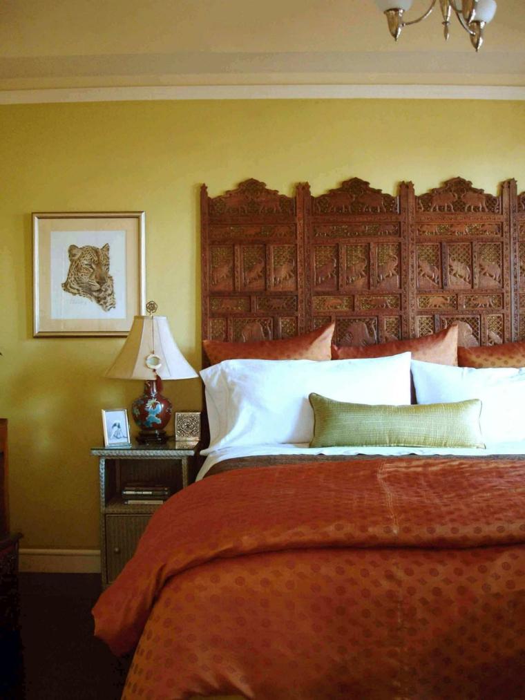 cabeceros de cama diseño madera lampara elegante