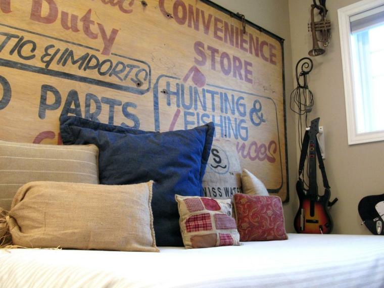 cabeceros de cama diseño variado carteles cojines