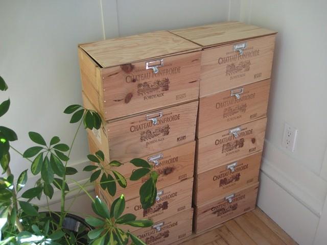 cajas madera vino mueble terraza
