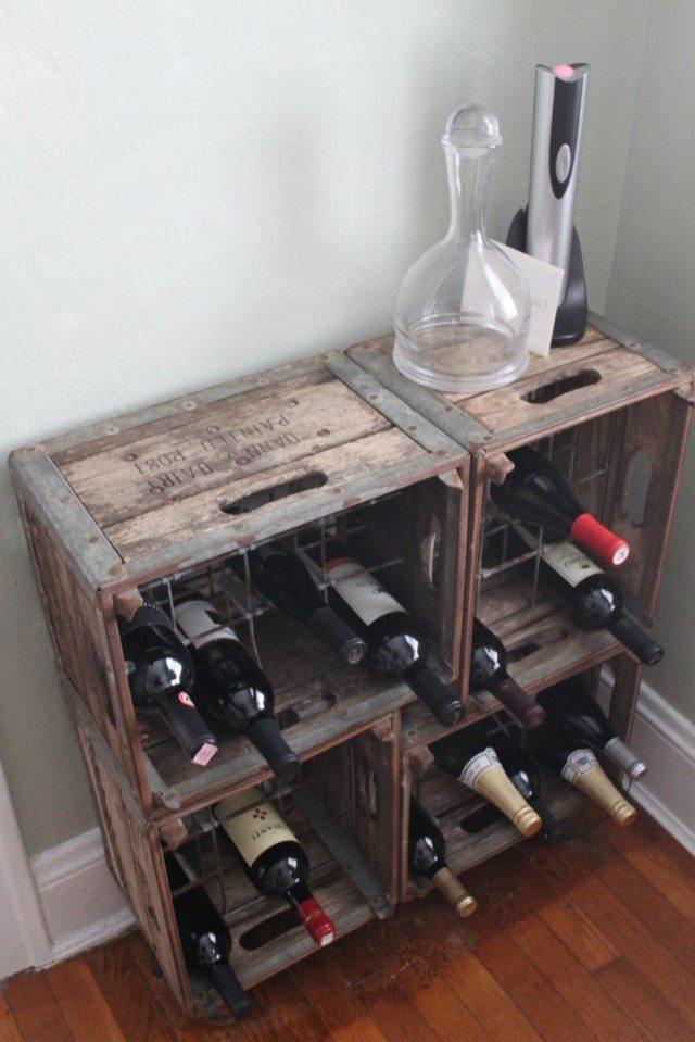 Decorar cajas de madera de vinos y amueblar con ellas