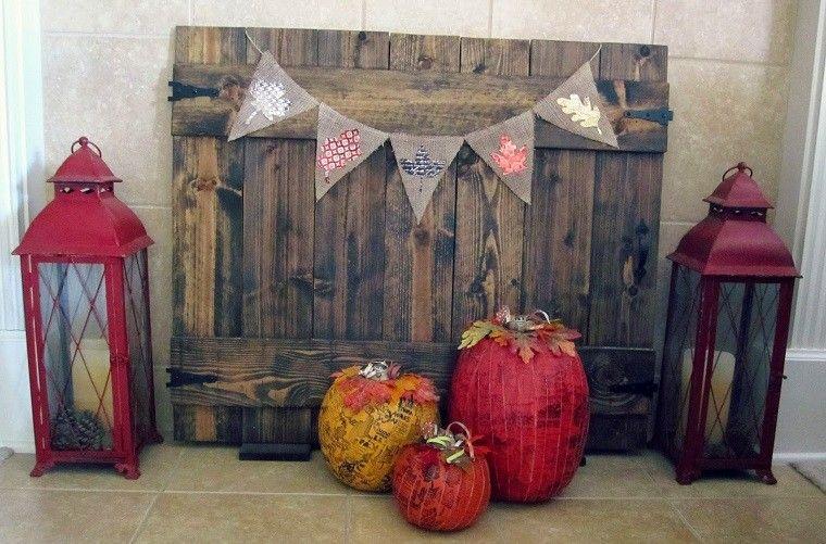 calabaza madera decoracion farolas rojas ideas