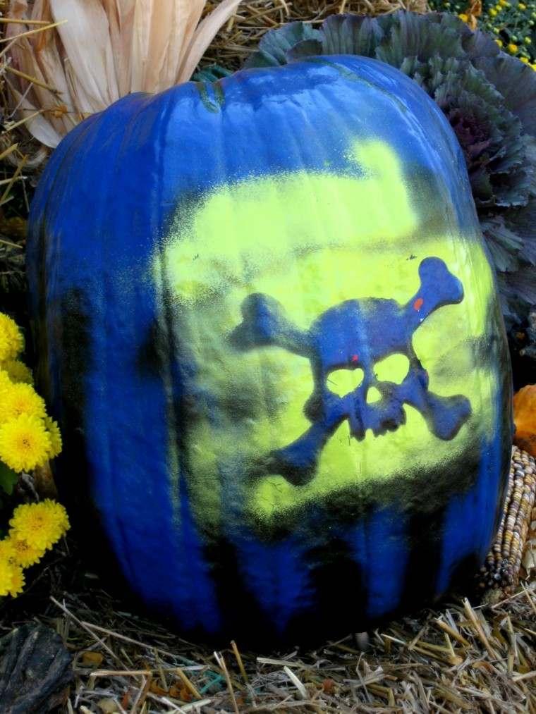 calabaza pintada calavera color azul