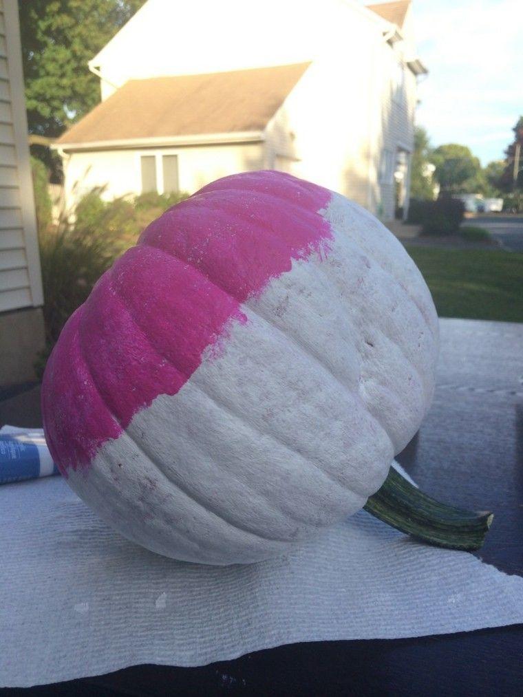 calabaza pintura blanco rosa