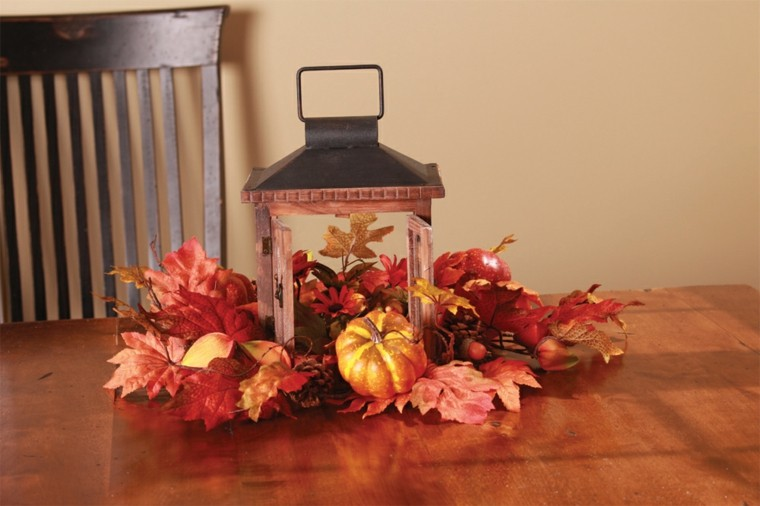 calabaza verde hojas detalles otoño