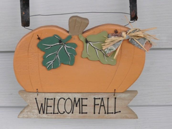 calabaza decorativa bienvenido otoño